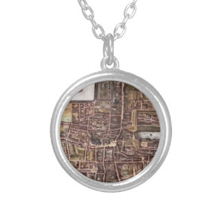 Replica city map of The Hague 1649 Silver Plated Necklace