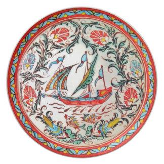 Replica Folk Art Pottery Greek sailboat furled Plate