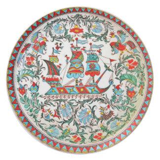 Replica Folk Art Pottery Greek tall ship Plate