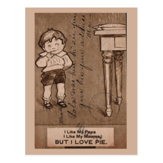 "Replica Vintage Boy eating pie, ""I love pie"" Postcard"
