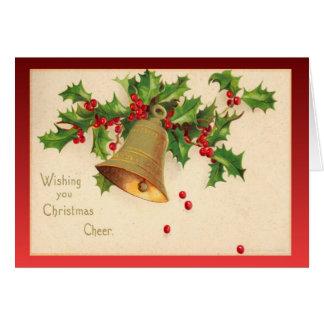 Replica Vintage Christmas, Holly, berries,  bells Greeting Card