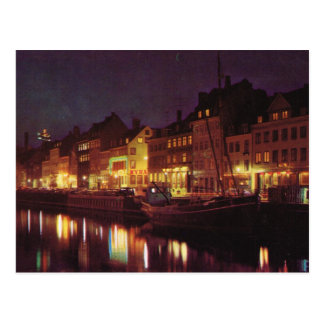 Replica Vintage  Denmark, Copenhagen by night Postcard