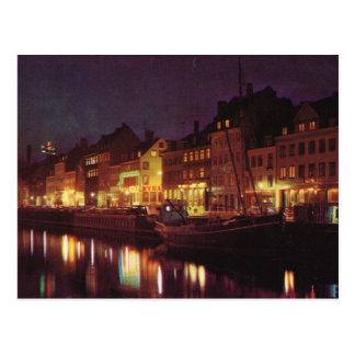 Replica Vintage  Denmark, Copenhagen by night Postcard