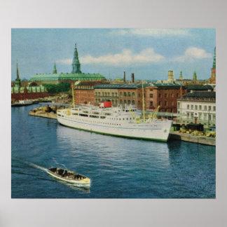 Replica Vintage Denmark Cruise ship Copenhagen Poster