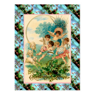 Replica Vintage Easter card, Cherubs with eggs Postcard