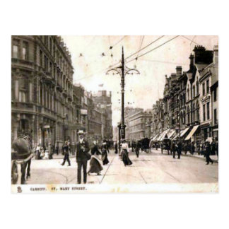 Replica Vintage Image, cardiff, St mary Street Postcard