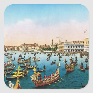 Replica Vintage Image, Venice 1910 Square Sticker