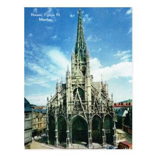Replica vintage, Rouen, Eglise St Maclau Postcard