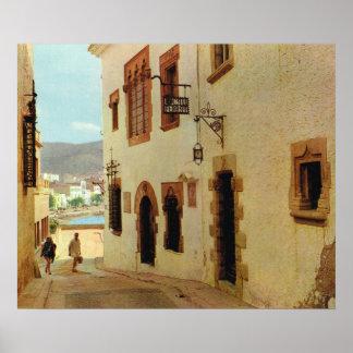 Replica Vintage Spain,  Sitges Old city Print