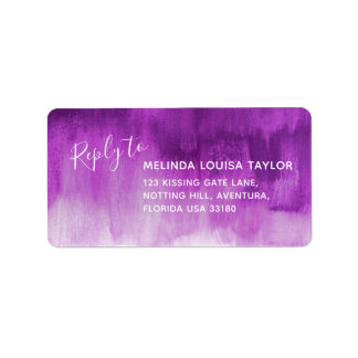 Reply mauve abstract art wedding address labels