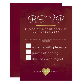 reply, respond rsvp . bordeaux red-wine wedding card