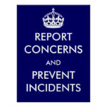 Report Concerns and Prevent Incidents Poster
