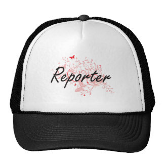 Reporter Artistic Job Design with Butterflies Cap