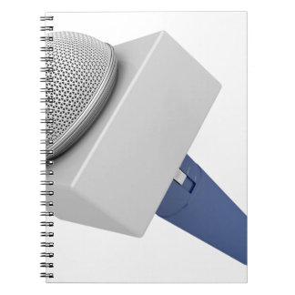Reporter microphone notebook