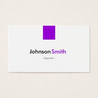 Reporter - Simple Purple Violet Business Card