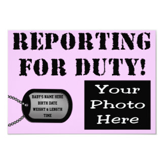 Reporting for duty birth announcement military