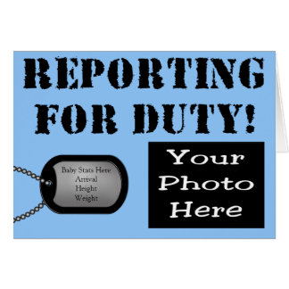 Reporting for Duty Military Birth Announcement