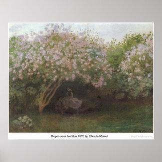Repos sous les lilas 1872 by Claude Monet Poster