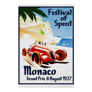 Reprint of a Monaco Festival of Speed 1937 Poster