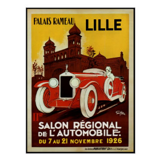 Reprint of a Vintage French Motor Car Event Poster