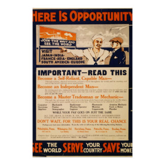 Reprint of a WW1 US Navy Recruiting Poster