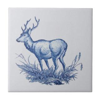 Repro 1876 Wedgwood Buck Deer w/Antlers Tile Blue
