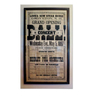 Repro 1897 letterpress theater broadside poster