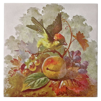 Repro Victorian Handpainted Bird & Fruit Tile #1