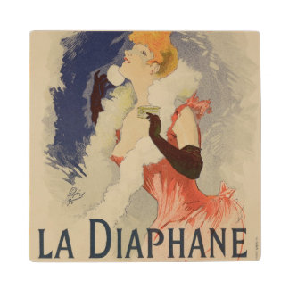 Reproduction of a poster advertising 'La Diaphane' Maple Wood Coaster
