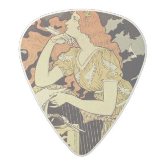 Reproduction of a poster advertising 'Marquet Ink' Acetal Guitar Pick