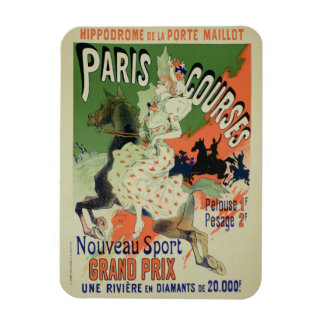 Reproduction of a poster advertising 'Paris Course Rectangular Photo Magnet