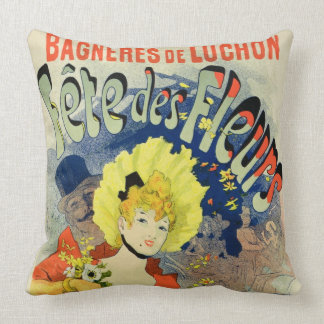 Reproduction of a Poster Advertising the Flower Fe Throw Pillow