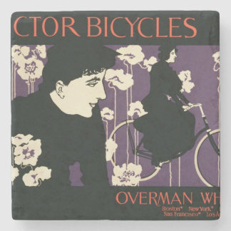 Reproduction of a poster advertising 'Victor Bicyc Stone Coaster