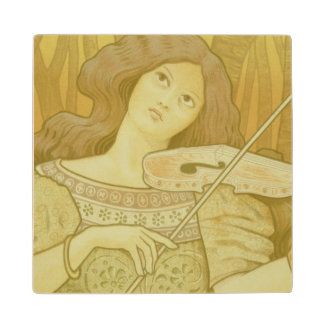 Reproduction of a poster advertising 'Violin Lesso Maple Wood Coaster