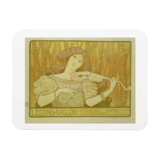 Reproduction of a poster advertising 'Violin Lesso Rectangular Photo Magnet