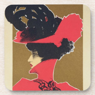 Reproduction of a poster advertising 'Zlata Praha' Beverage Coaster
