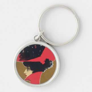 Reproduction of a poster advertising 'Zlata Praha' Silver-Colored Round Key Ring