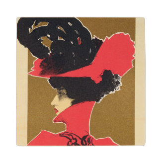 Reproduction of a poster advertising 'Zlata Praha' Maple Wood Coaster