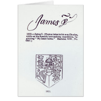 Reproduction of the signature of James VI and Card
