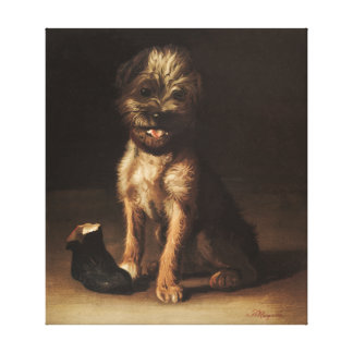 Reproduction Vintage Portrait of puppy Canvas Print