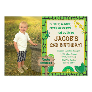 Reptile Birthday Invitation Lizard Snake Invite