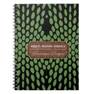 Reptile Decorative Green Black Modern Notebook
