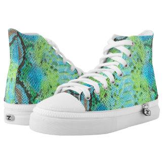 Reptile Skin Snake Blue Green Zipz High Top Shoes