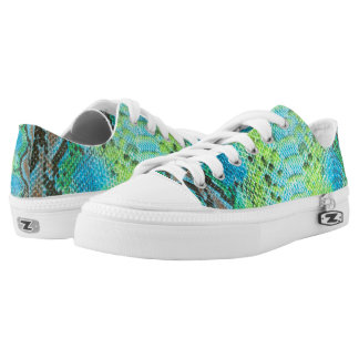 Reptile Skin Snake Blue pattern Zipz Low Top Shoes Printed Shoes