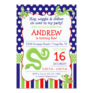 "Reptile Theme Birthday Party Invitation 5"" X 7"" Invitation Card"