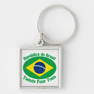 Republic Of Brazil - Twinty Foor 7ven Silver-Colored Square Key Ring