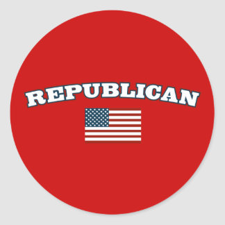 Republican American Flag Classic Round Sticker
