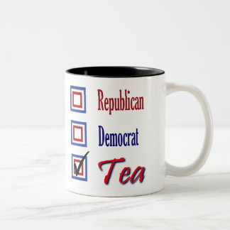 Republican Democrat TEA Party Check One Two-Tone Coffee Mug