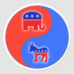 Republican/Democrat Yin/Yang Round Stickers