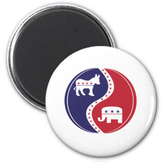 Republican  Democrats Working Together 6 Cm Round Magnet